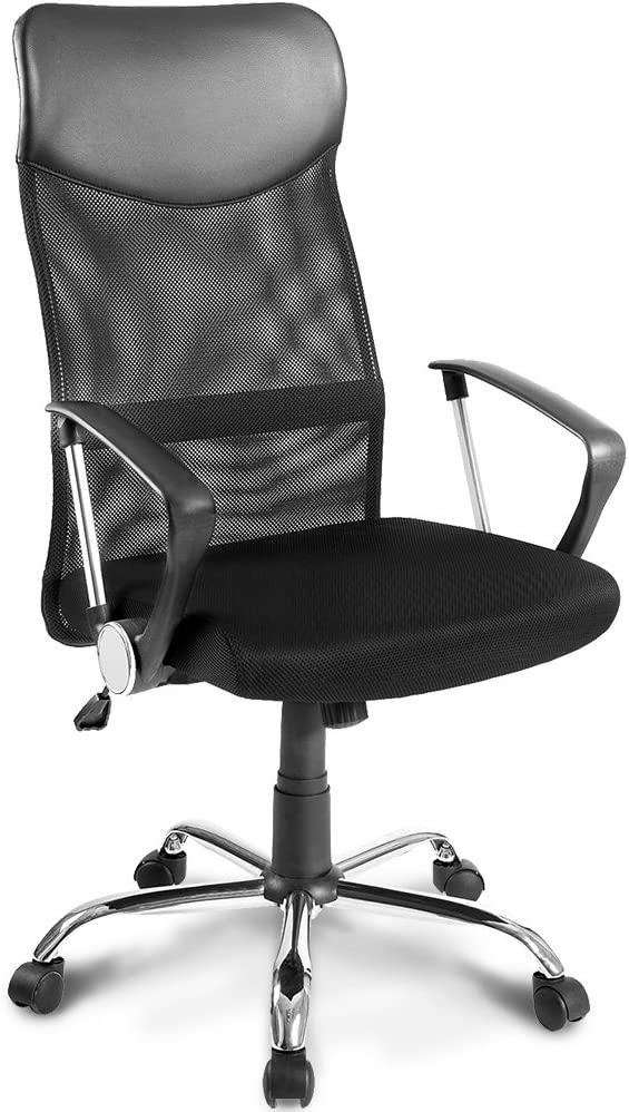 Merax Bürostuhl Schreibtischstuhl Bürodrehstuhl Ergonomischer Design Chefsessel mit Kopfstütze, Netzrücken/Wippfunktion/Feste…