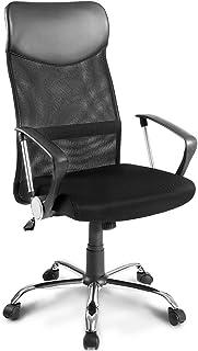 Merax - Silla de escritorio, silla de oficina giratoria de diseño ergonómico, con reposacabezas, respaldo de red, función de balancín, reposabrazos fijos, altura regulable
