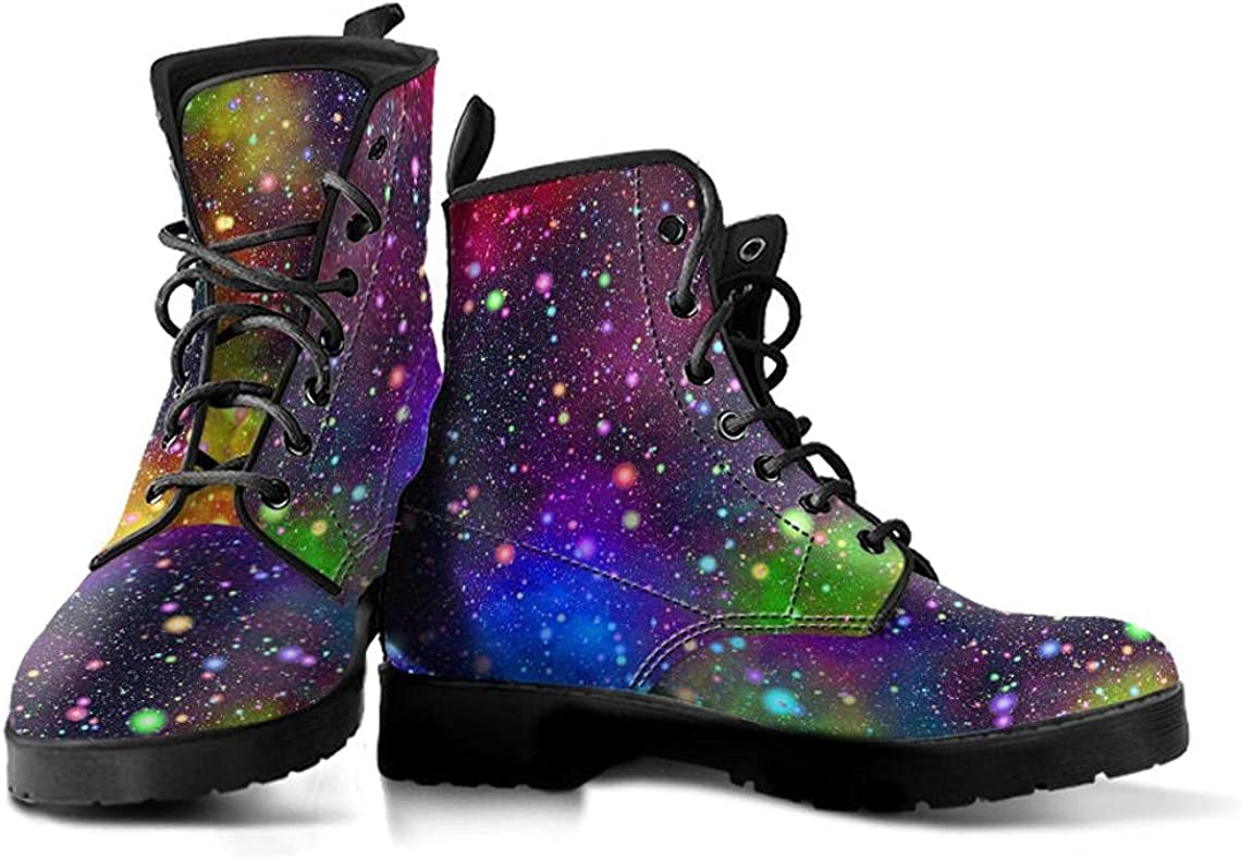 Rainbow Galaxy Boots, Colorful Boots, Women's Boots, Vegan Leather, Combat Boots, Classic Boot, Galaxy Print Design, Rain Boots Women
