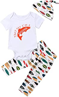 Newborn Infant Baby Girls Boys Daddy's Fishing Buddy Romper Bodysuit Fish Pants Hat 3Pcs Summer Outfit