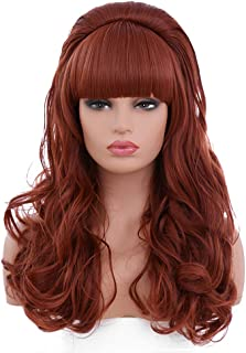 BESTUNG Copper Red Long Curly Wavy Women's Big Red Costume Wig 80's Classical Hair Wigs for Women