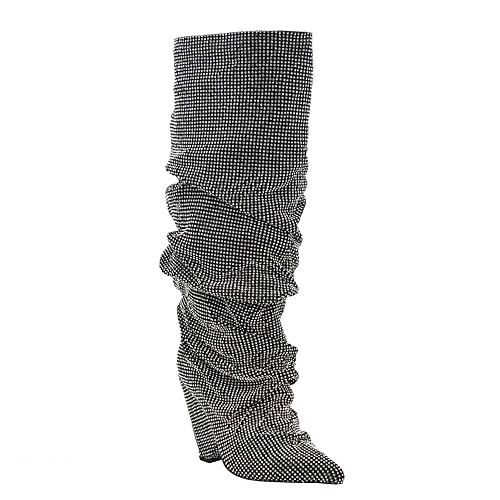 Embellished Rhinestone Crystal Covered Knee High Slouch Boot Fall Winter  Most Wanted Shoe Boot ed79de39bac0