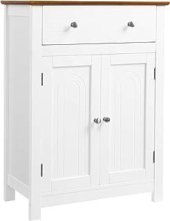 VASAGLE Armario para baño Mueble de baño con cajón y balda Ajustable con Estilo rústico Madera Blanco y marrón 60 x 3...