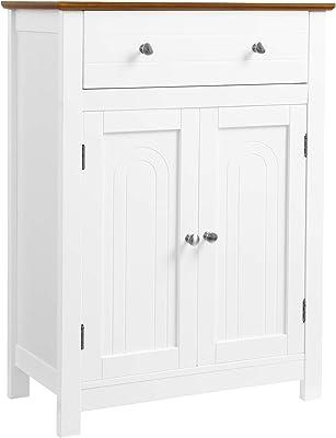 Espresso YAHEETECH Bathroom Freestanding Floor Cabinet w// 4 Storage Drawers and Adjustable Shelves