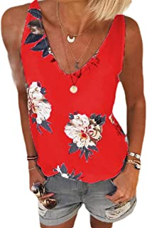 SportsX Womens Floral Printed V Neck Summer Casual Weekend Plus-size Cami Blouse