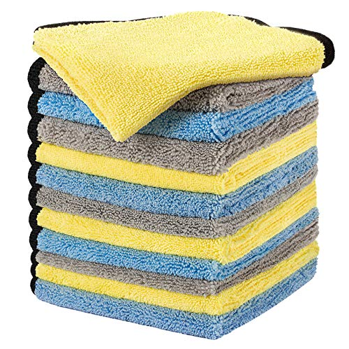 16' x 16' Large & Thick Microfiber Cleaning Cloths Strong Absorption with Fine Workmanship(12-Pack), Non-Abrasive Microfiber Towels for Home, Cleaning Rags for Cars (Blue, Yellow, Gray)