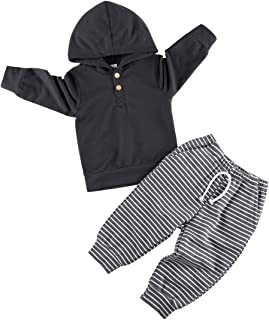 Sponsored Ad - Toddler Baby Boy Clothes Long Sleeve Hoodie Sweatshirt Pants Infant Solid Color Fall Winter Outfits Set