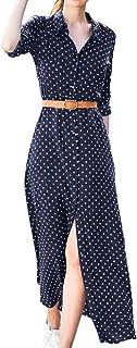 Fankle Women's Dresses Polka Dot Print Maxi Long Dress Stand Collar T-Shirt A-Line Long Sleeve Sundress with Belt