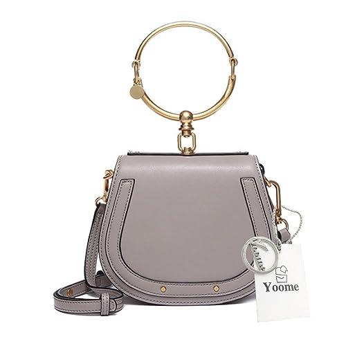 Yoome Women Punk Circular Ring Handle Handbags Small Round Purse Crossbody Bags For Girls - Grey