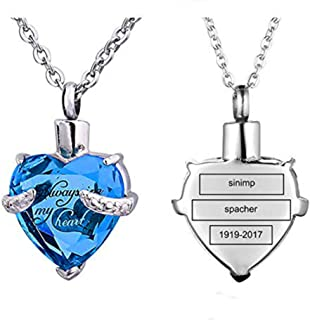 Always in My Heart 12 Birthstone Cremation Jewelry Urn Necklace Heart Memorial Keepsake Pendant Ash Holder Cremation Jewelry for Ashes
