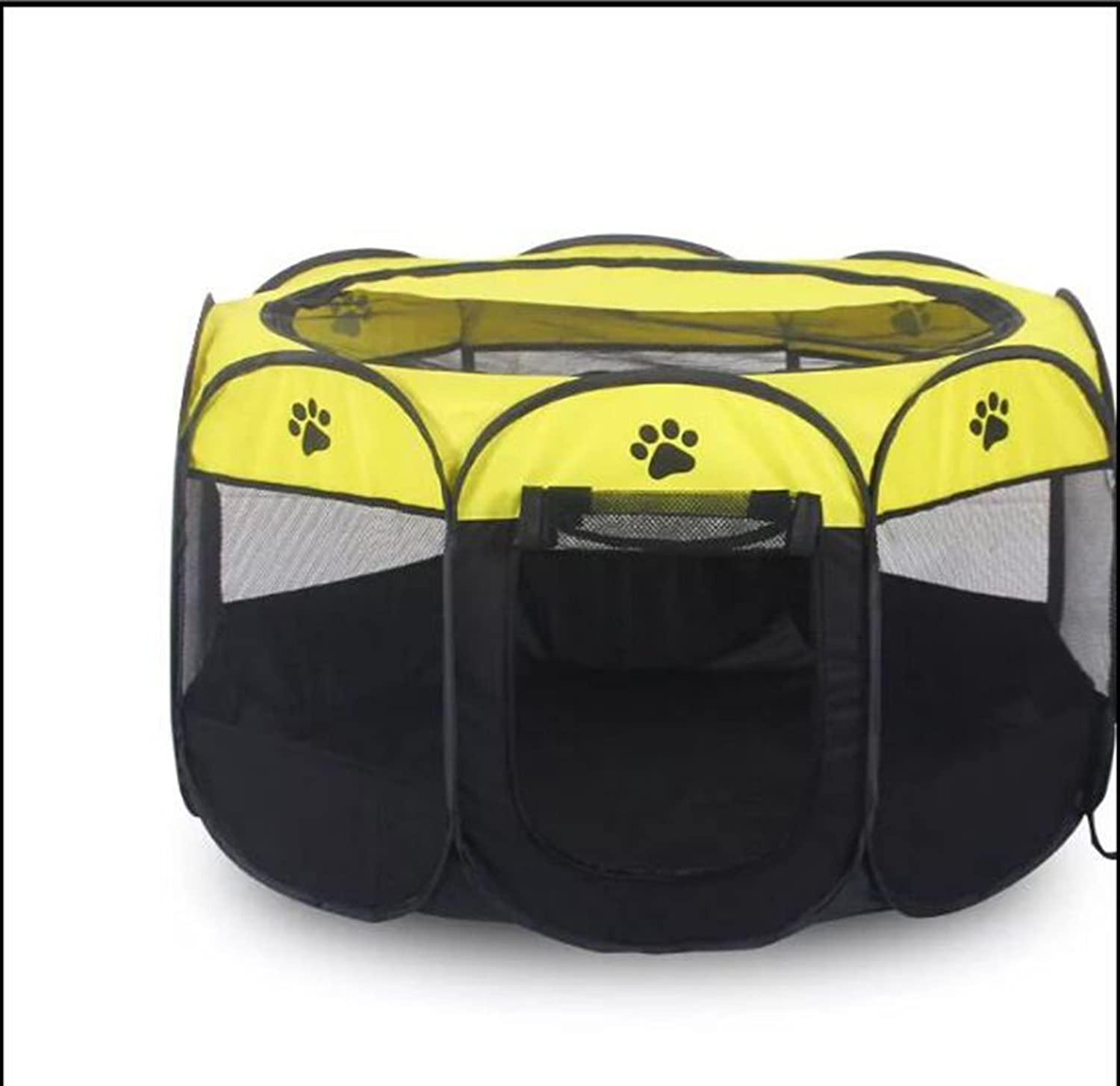Pet Production Property Box Production Bed Outdoor Folding Dog Closed Production Supplies, Yellow,S