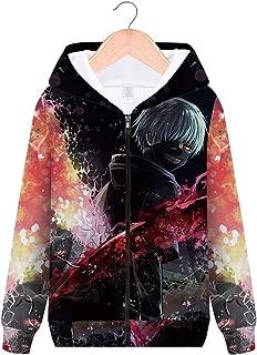 Unisex Adult 3D Printed Anime Tokyo Ghoul Cosplay Casual Zip Up Jackets Coat Hoodie Sweatshirt Tops