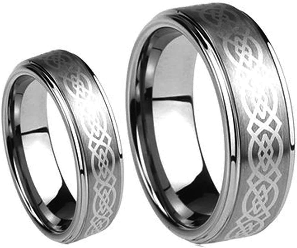 Men Factory outlet Ladies 8MM 6MM Tungsten Carbide Band Ring Wedding Super beauty product restock quality top Set La w