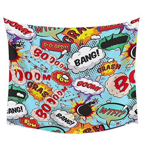 Explosión llama bomba humo cómic colorido tapiz de pared cubierta toalla de playa Picnic Yoga Mat decoración del hogar 150x200cm