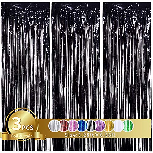 3Pcs Black Metallic Tinsel Foil Fringe Curtains, 3.28ft x 6.56ft Black Photo Booth Backdrop Curtain,Photo Booth Props,Ideal Bachelorette Party Supplies,Birthday,Graduation, Christmas,New Year Decor