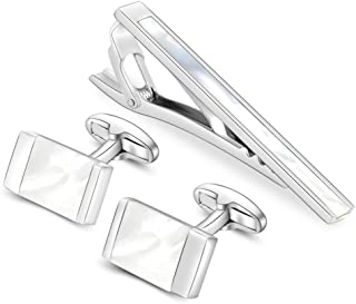 Classic Cuff Links and Tie Clip Set for Mens Cufflinks French Dress Shirts with Gift Box