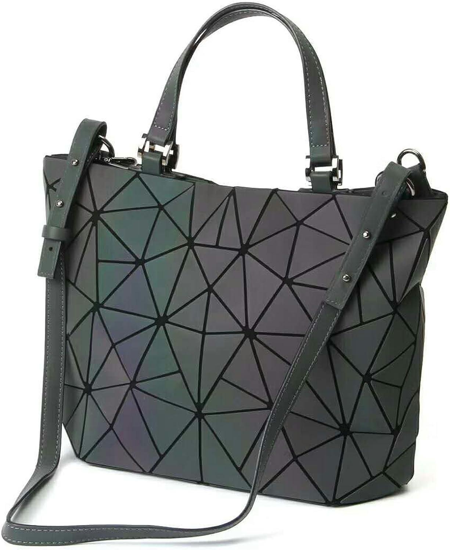 Women Top-Hand Bags Geometric Luminous Bag PU Leather Purses and Women Handbags Shard Lattice Eco-Friendly Holographic Purse Ladies Shoulder Bag Diamond Ladies Messenger Bags