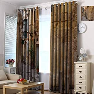 Travel 100% blackout lining curtain Old Narrow Street European Town in Vittoriosa Malta Historical Architecture Country Full shading treatment kitchen insulation curtain W84 x L84 Inch Sand Brown