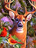 GIEAAO 5D Diamond Painting Kit Reindeer, Paint with Diamonds Art Bird, Paint by Numbers Animal Full Drill Round Rhinestone Craft Canvas for Home Wall Decor 12x16 inch