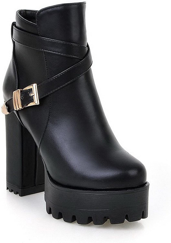 AllhqFashion Women's Low Top Zipper High Heels Round Closed Toe Boots