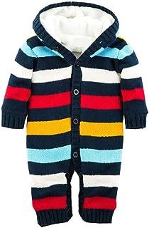 Kids Winter Warm Knit Sweater Newborn Toddler Baby Boy Striped Jumpsuit Hooded Sweater Jacket