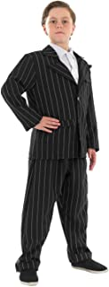 fun shack Kids Gangster Costume Childrens Black Pinstripe Mafia 1920s Mobster Suit