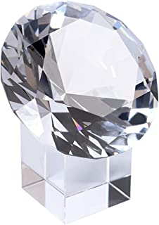 LONGWIN 80mm(3.1 inch) Crystal Diamond Paperweight with Stand Jewels Wedding Decorations Centerpieces Home Decor (Clear)