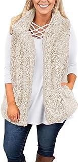Sovoyontee Women Faux Fur Waistcoat Vest Jacket Coat with Pockets