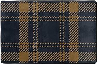 Blue Gold Tartan Plaid Scottish Doormat Entrance Mat Floor Mat Rug Indoor/Outdoor/Front Door/Bathroom Mats Rubber Non Slip...