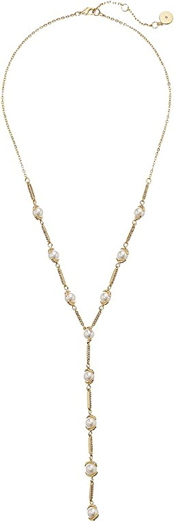"Pearl and Pave 20"" Y Necklace"