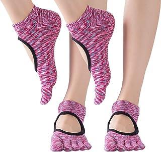 Calcetines de Cinco Dedos - Calcetines de Yoga para Mujer Sport Ejercicio Calcetines Antideslizantes con Puntos de Goma