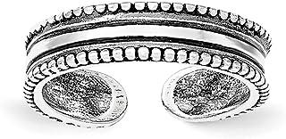 Lex & Lu Sterling Silver Polished and Antiqued Adjustable Ring LAL36129