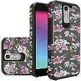 LG Phoenix 2 Phone Case, LG K7 Case, LG Treasure LTE Case, LG Tribute 5 Case Hard & Soft Sturdy Durable Hybrid Dual Layer Protective [ Anti Scratch ] Cover (Roses Floral)