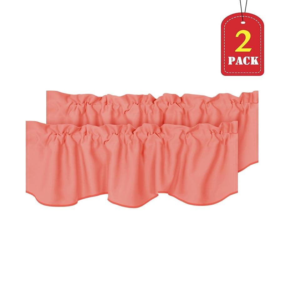 H.VERSAILTEX Room Darkening Kitchen Valances for Windows Rod Pocket Curtain Valances for Bathroom Coral, Pack 2, 52 inch by 18 inch