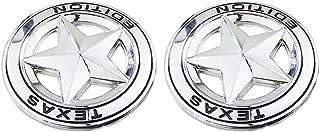 TK-KLZ 2Pcs 3D Metal TEXAS EDITION Star Car SUV Truck Side Fender Rear Trunk Emblem Badge Sticker Decals for JEEP Dodge GMC Ford Honda Toyota Highlanger Nissan VW (Silver)