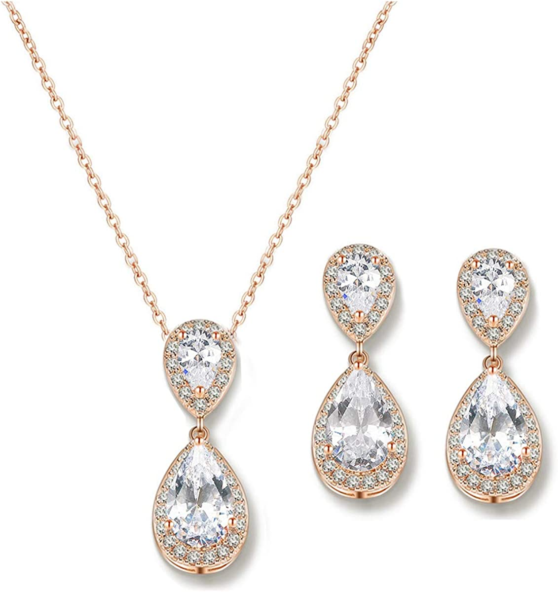 UDORA Teardrop Cubic Zirconia Drop Earrings Necklace Bridal Jewelry Sets Wedding Prom Gifts For Bridesmaid
