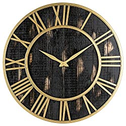 Gold and Black Home Decor Wall Clock - Metal & Solid Wood Whisper Quiet Ticking Wall Clock (Black Gold, 30-inch)