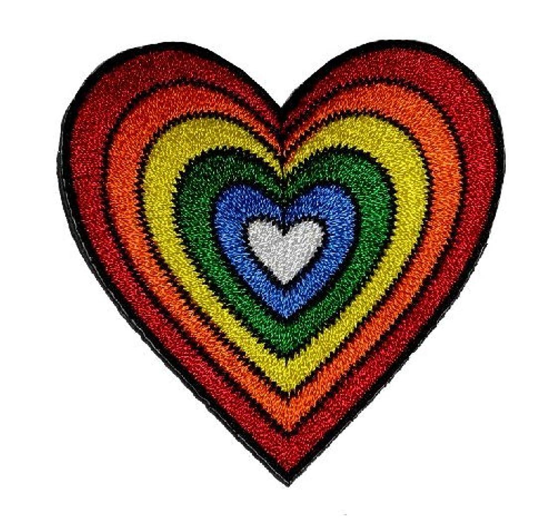 Heart Rainbow Hippie Retro Design DIY Applique Embroidered Sew Iron on Patch H-01