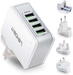 Cargador USB Multipuerto LENCENT Ladron Enchufes 4.4A 5V Adaptador para Viaje Adaptadores de Enchufe Universal inglés/eeuu/EU/AUS para iPad iPhone Samsung Teléfonos Inteligentes