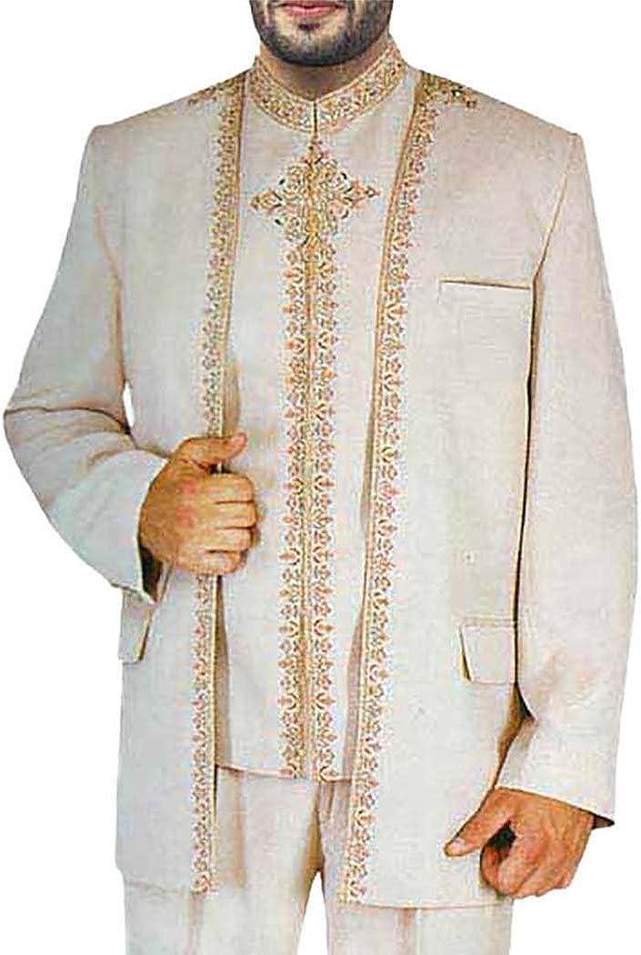 INMONARCH Mens Almond 3 Pc Jodhpuri Suit Traditional Work JO0105