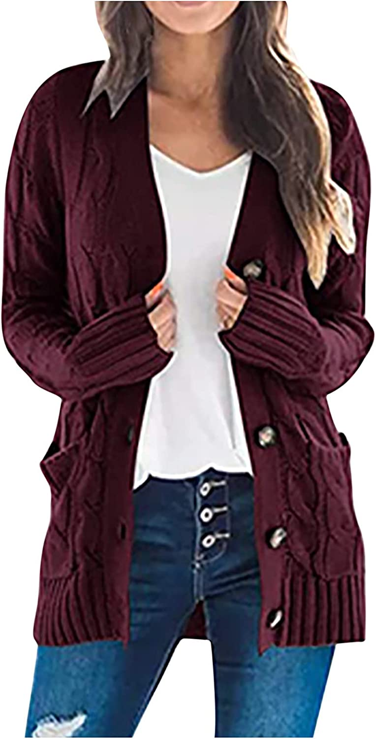 Women Tops Chunky Knit Sweaters Loose Slouchy Oversized Tops Open Front Cardigans Warm Blouse Button Down Coat