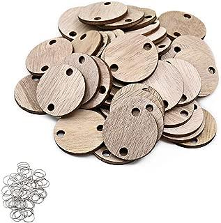 ElekFX Family Calendar Parts 50 Pack Calendar Wooden Discs & Ring for Birthday Gift/Christmas Tree Decorative/Home Decor