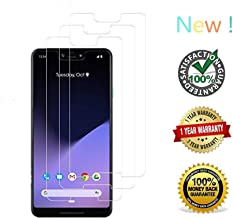 [3 Packs] for Google Pixel 3XL Screen Protector, Tempered Glass Film Case-Friendly Full Coverage Alignment Frame with Lifetime Replacement Warranty
