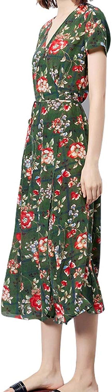 Summer Bohemian Aline Skirt Printed VNeck Silk Long Dress (Size   L)
