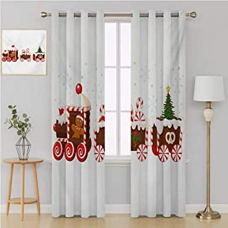 Benmo House Christmas Gromit Curtains Patterned Drape for Glass Door,Train with Gingerbread Cream Candy Cartoon Toys Snowflakes Presents Kids Room Decor 120 by 84 Inch White Brown Vermilion