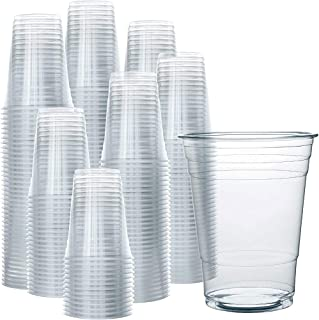 SNH Juice Cup 16Oz Clear Strong Disposable 50 Pieces - Ideal for iced coffee, smoothies, Bubble Boba tea, milkshakes, froz...