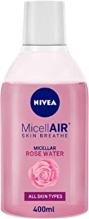NIVEA Micellar Water and Makeup Remover for Sensitive Skin, Rose Water Gentle Facial Cleanser (400mL)