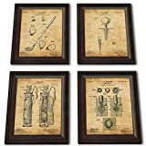 Framed Golf Patent Art Prints - 14 in X 17 in Finished Size (4 Set (Ball Tee Club Bag))