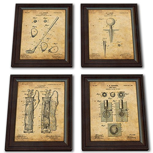 Framed Golf Patent Art Prints 14 in X 17 in Finished Size 4 piece set Ball Tee Club Bag