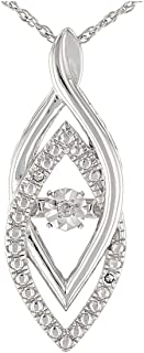 JTV-White Diamond Accent Rhodium Over Sterling Silver Dancing Diamond Pendant With 18 inch Chain